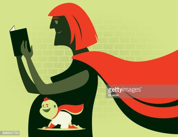 illustrations, cliparts, dessins animés et icônes de bébé et la mère de super héros - grossesse humour