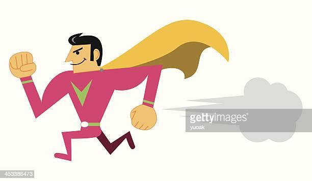 super hero running - calla lily stock illustrations