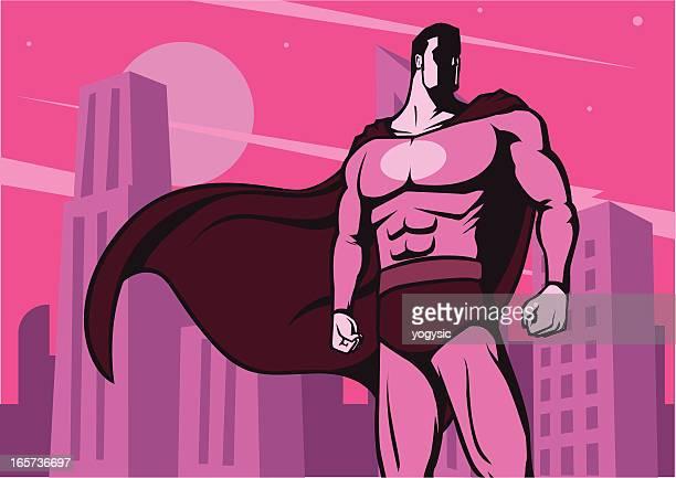 super hero vintage poster - superman stock illustrations
