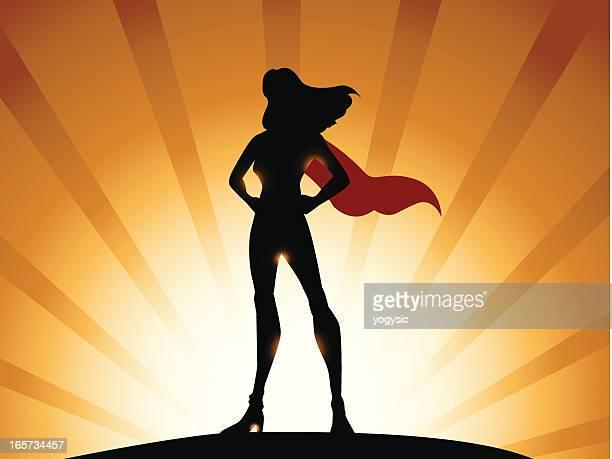 ilustraciones, imágenes clip art, dibujos animados e iconos de stock de super la heroína silueta parte 2 - fuerza