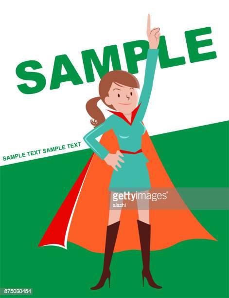 ilustraciones, imágenes clip art, dibujos animados e iconos de stock de super heroínas (mujer joven con cola de caballo pelo marrón) apuntando hacia arriba y de pie con la mano en la cadera - madre trabajadora