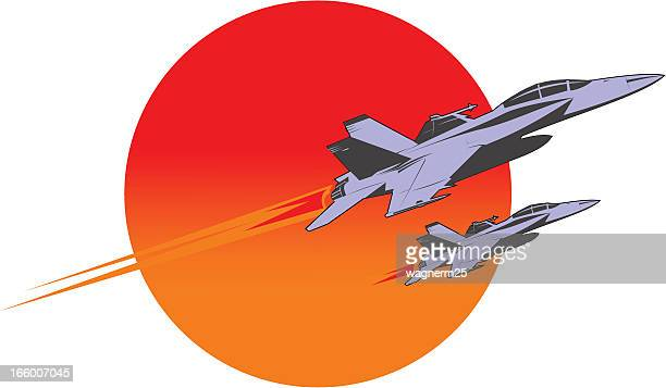 f-18 super hornet flying over the sun - fa 18 hornet stock illustrations