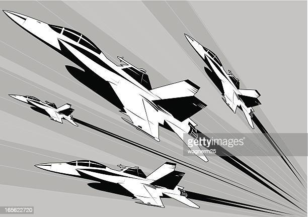 f-18 super hornet formation - fa 18 hornet stock illustrations