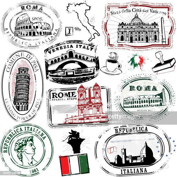 super italian stamps - tuscany stock illustrations, clip art, cartoons, & icons