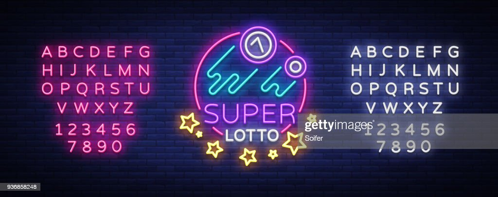 Super loto neon sign. Bingo lotto   in a neon style, bright symbol, lototron, neon banner, bright night advertising for your projects. Vector Illustrations. Editing text neon sign