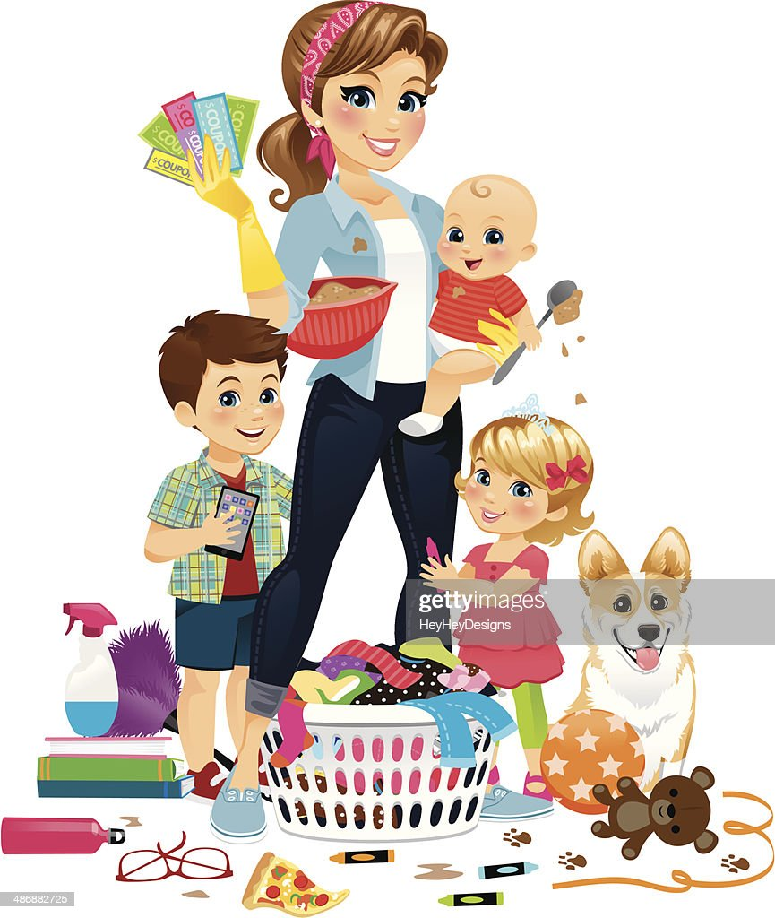 Super Mom Being Domestic : Stock Illustration