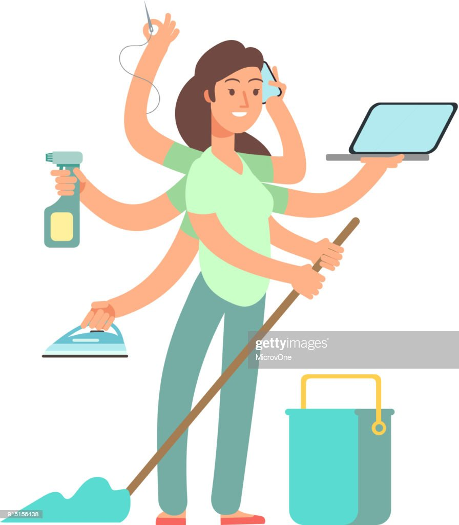 Super mom vector concept. Stressed mother in business and housework activities
