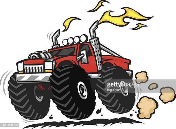 ilustraciones, imágenes clip art, dibujos animados e iconos de stock de super camión - monstertruck