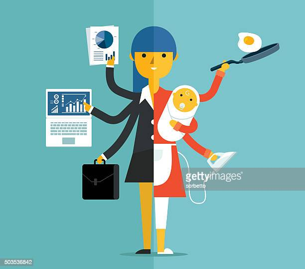 super mother - parent stock illustrations