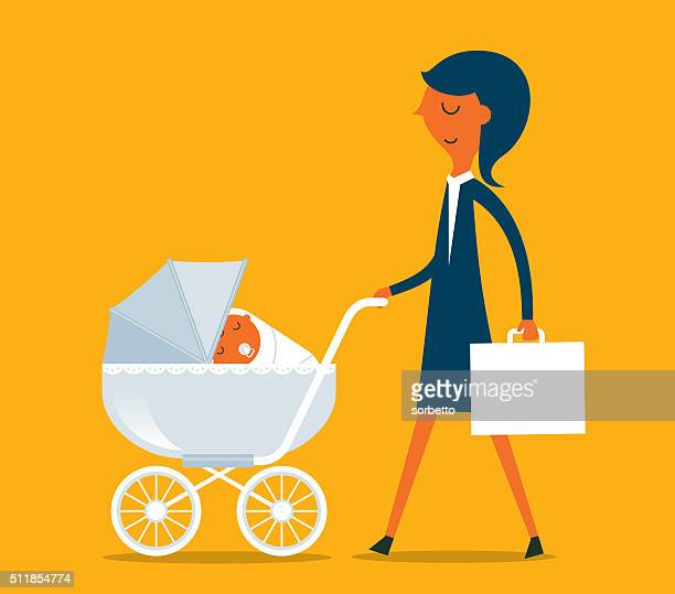 super mother - three wheeled pushchair stock illustrations, clip art, cartoons, & icons