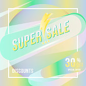 Super sale 30 discount square poster format and flyer. Template for design advertising and banner on colour background. Flat vector illustration EPS 10