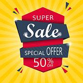 Super Sale and special offer. 50% off. Vector illustration.