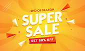 Super Sale banner or poster design with 80% discount offer and geometric elements on orange abstract background.