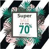 Super Sale banner, poster with Tropical Exotic Leaves