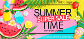 Super sale banner with gourmet food.