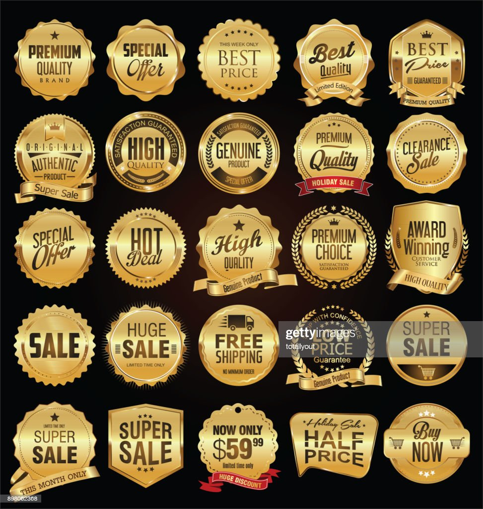 Super sale golden retro badges and labels vector collection