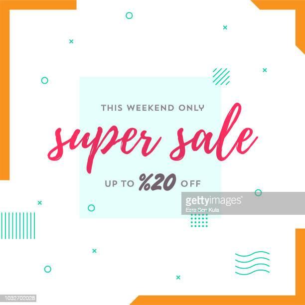 ilustrações, clipart, desenhos animados e ícones de venda super retrô web banner para mídias sociais - liquidação evento comercial