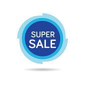 Super sale Sticker. Sale Blue Tag Isolated Vector Illustration. Super Sale Offer Price Label, Vector Super Sale Symbol.
