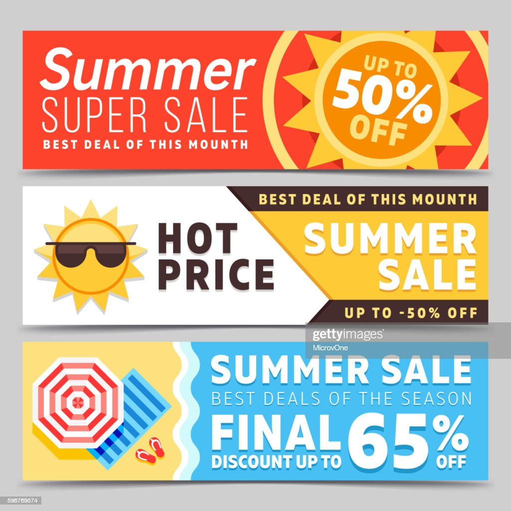 Super sale summer vector banners