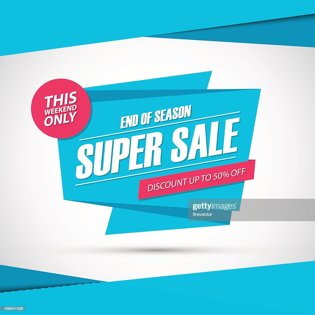 Super Sale. This weekend special offer banner, discount 50% off.
