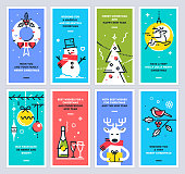 Super set of Christmas and New Year cards. Collection of xmas thin line design templates for print or web. Vector illustration.