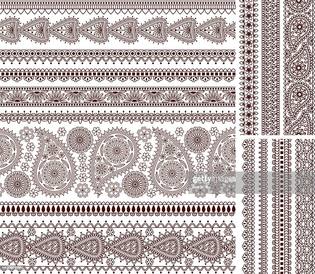 Super set of ornamental seamless borders in Indian style