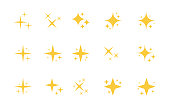 Super set of stars sparkle icon. Bright firework, decoration twinkle, shiny flash. Glowing light effect stars and bursts collection. Vector graphic design