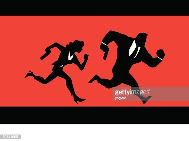 Super Spies Couple Running Silhouette