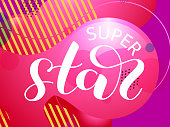 Super Star brush lettering with colorful confetti. Vector illustration for clothes or card