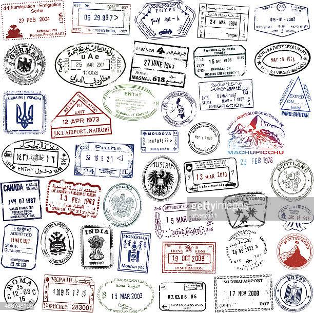 super travel passport collection - poland stock illustrations