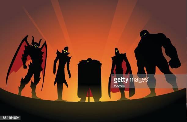 super villain team silhouette - giant stock illustrations, clip art, cartoons, & icons