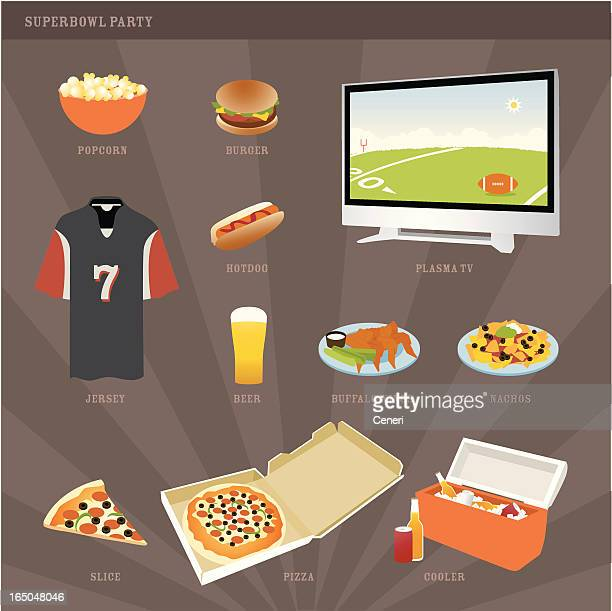 superbowl party icons - nachos stock illustrations