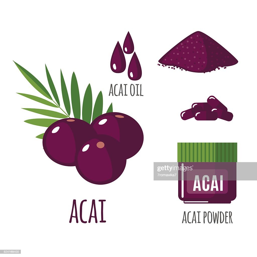 Superfood acai berry set in flat style.
