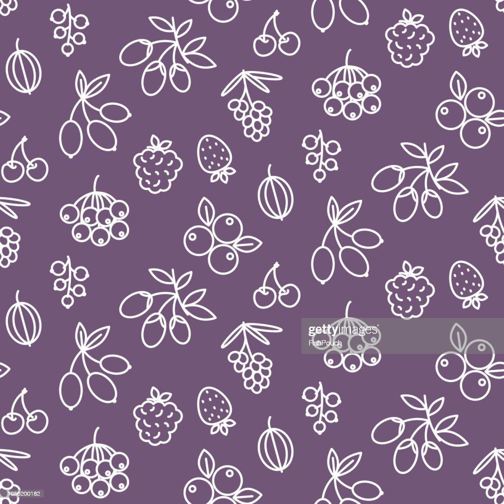 Superfood berries icon pattern rosehip, strawberry, acai, raspberry, juniperus, cranberry, sea buckthorn, cherry, blueberry, goji, blackberry, currant.