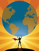 Supergirl Lifts World Silhouette
