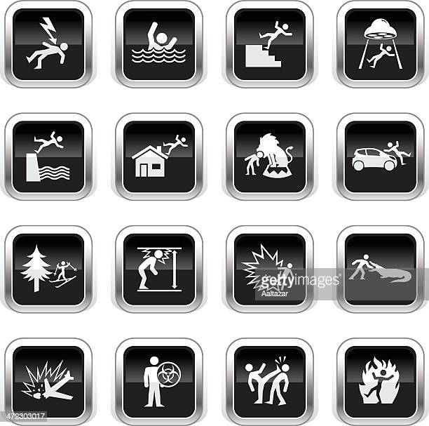 illustrations, cliparts, dessins animés et icônes de supergloss noir icônes-accidents - catastrophe aérienne
