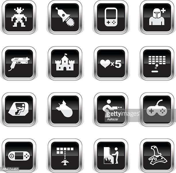 Supergloss Black Icons - Arcade Gaming