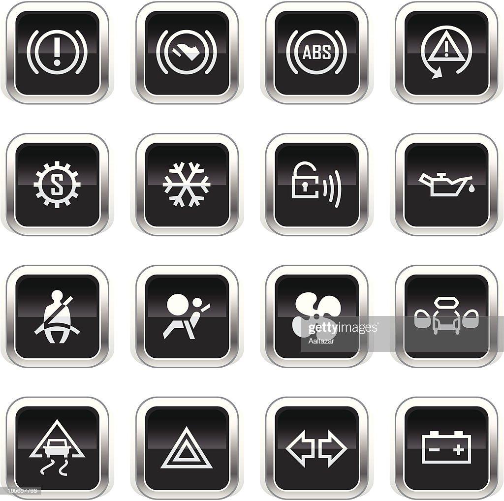 Supergloss Black Icons -  Car Control Indicators : stock illustration