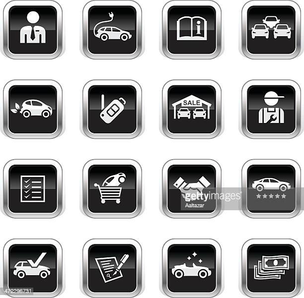 supergloss black icons - car dealership - car salesperson stock illustrations, clip art, cartoons, & icons