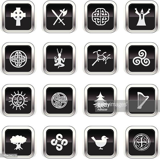 supergloss black icons -  celtic - celtic music stock illustrations, clip art, cartoons, & icons