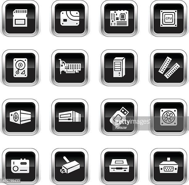 supergloss black icons - coputer parts - power supply box stock illustrations, clip art, cartoons, & icons