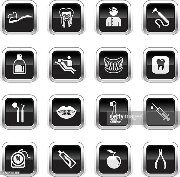 supergloss black icons - dental care - mouthwash stock illustrations, clip art, cartoons, & icons
