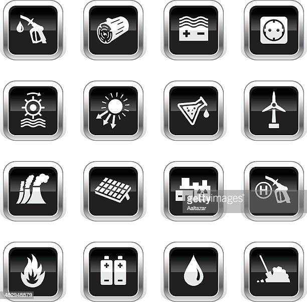 supergloss black icons - energy sources - biodiesel stock illustrations, clip art, cartoons, & icons