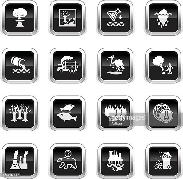 supergloss black icons - environmental damage - water pollution stock illustrations, clip art, cartoons, & icons