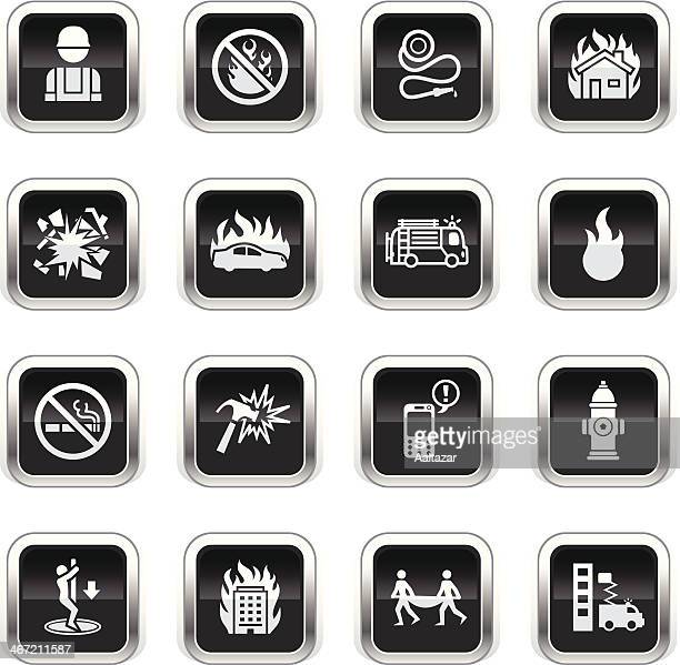 supergloss black icons - firefighters - accidents and disasters stock illustrations, clip art, cartoons, & icons