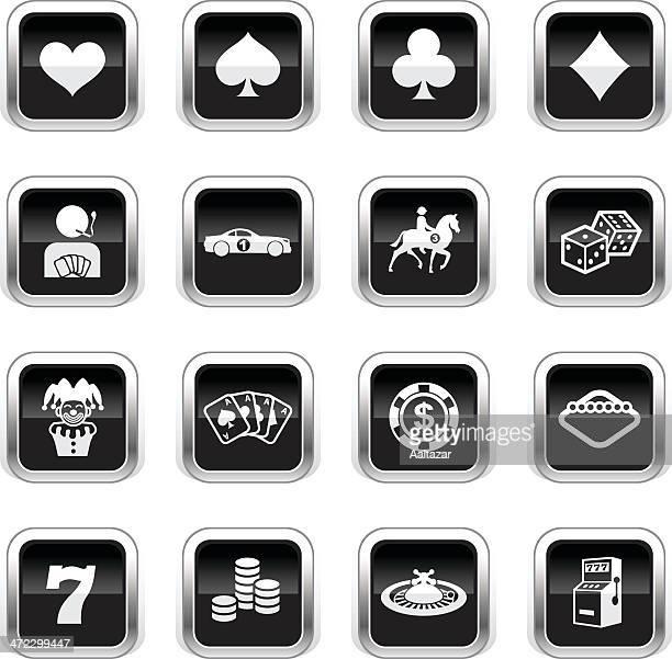 ilustraciones, imágenes clip art, dibujos animados e iconos de stock de supergloss negro iconos de juegos de azar - fajo de billetes