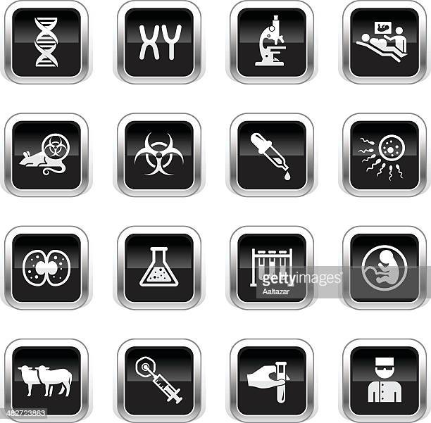 supergloss black icons - genetics & cloning - animal fetus stock illustrations, clip art, cartoons, & icons