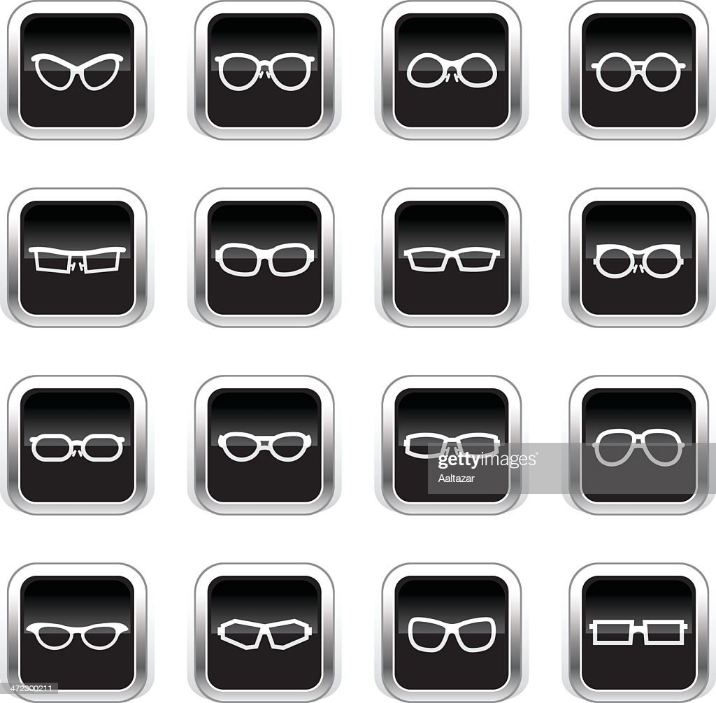 Supergloss Black Icons - Glasses : stock illustration