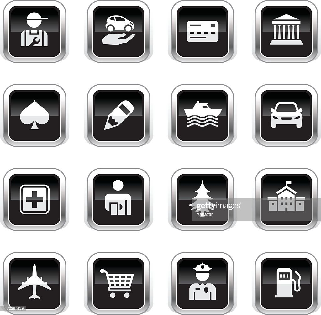 Supergloss Black Icons - GPS Points of Interest