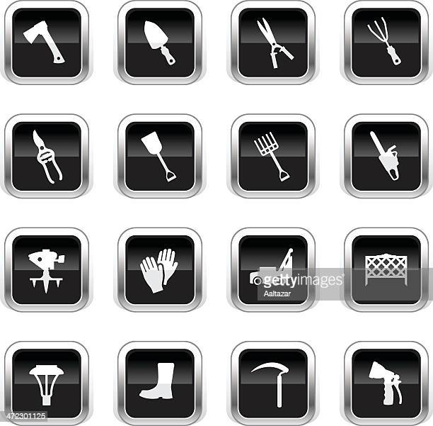 supergloss black icons - lawn & garden - harrow agricultural equipment stock illustrations, clip art, cartoons, & icons